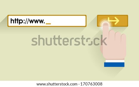 "minimalistic illustration of an internet address bar with hand cursor icon over ""enter"" button, eps10 vector - stock vector"