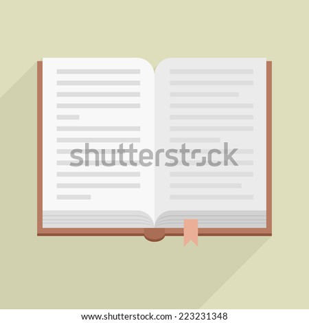 minimalistic illustration of an open book, eps10 vector - stock vector