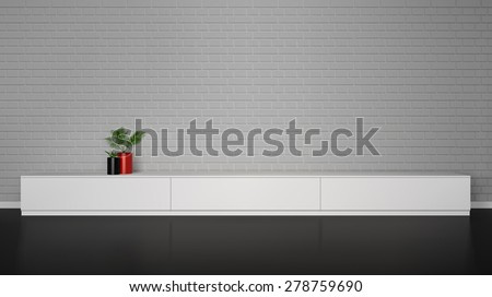 Minimalistic interior with  white cupboard table and plants in pot and brick wall vector illustration - stock vector