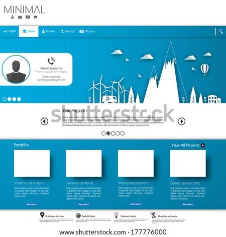 Minimalistic Modern Website Template - stock vector