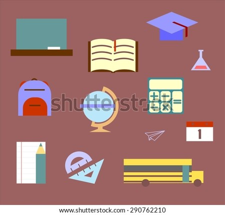 minimalistic school and Education Icons - set - stock vector