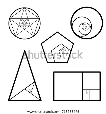 Minimalistic style design. Golden ratio. Geometric shapes. Circles in  golden proportion. Futuristic