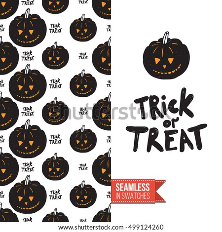 Minimalistic Style Greeting Card For Halloween, Inspired By Spooky  Symbolism. Seamless Pattern With Stylized