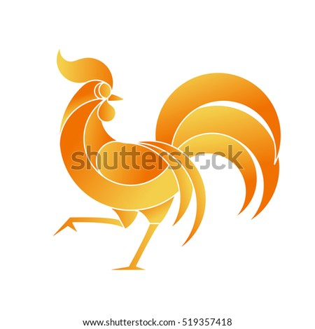 Minimalistic style rooster - symbol of year 2017. Cock simple illustration.