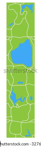 Minimalistic stylized map of Central Park New York showing lakes and main transitions. - stock vector