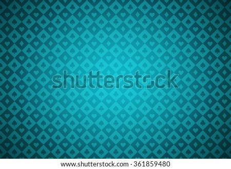 Minimalistic turquoise poker background with texture composed from card symbols - stock vector