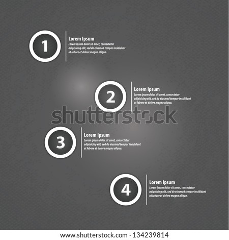 Minimalistic vector template. Four choices, levels or variants in modern design with space for your text. Editable, sizable. Can be use as info graphic. - stock vector