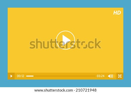 minimalistic video player in yellow and blue - stock vector