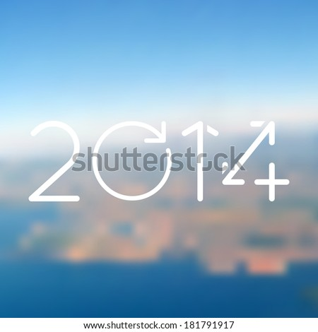 Minimalistic web media backdrop. Editable. Vector blurred background with 2014 year. Unfocused sea side landscape. Presentation template. Web and mobile interface template.