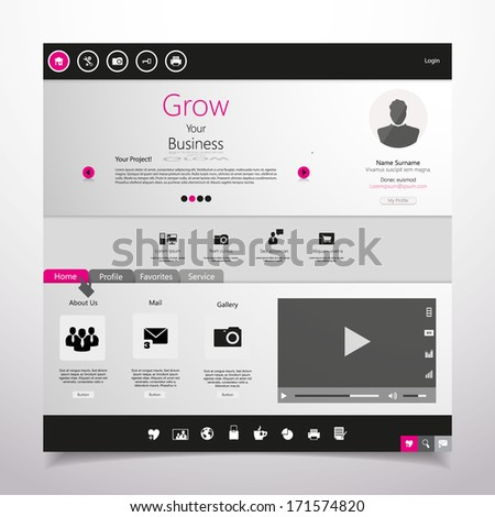 Minimalistic Website - stock vector