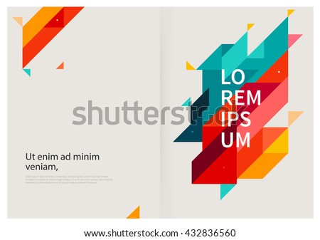 Minimalistic White cover Brochure design. Flyer, booklet, annual report cover template. modern Geometric Abstract background. Blue,yellow and red diagonal lines & triangles. vector-stock illustration