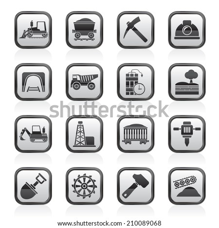 Mining and quarrying industry icons - vector icon set - stock vector