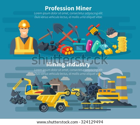 Mining banner horizontal set with professional miner avatar isolated vector illustration - stock vector