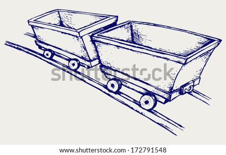 Mining cart. Doodle style - stock vector