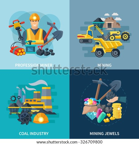 Mining design concept set with coal industry and professional miner flat icons isolated vector illustration - stock vector