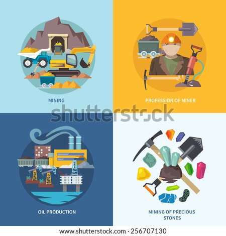 Mining design concept set with profession of miner oil production precious stones flat icons isolated vector illustration - stock vector