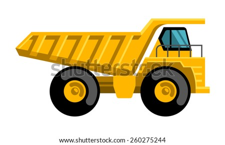 Mining dump truck tipper big heavy yellow car flat design vector icon - stock vector