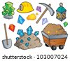 Mining theme collection 1 - vector illustration. - stock photo