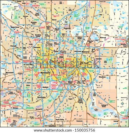 Minneapolis St Paul Minnesota Area Map Stock Vector (Royalty Free ...