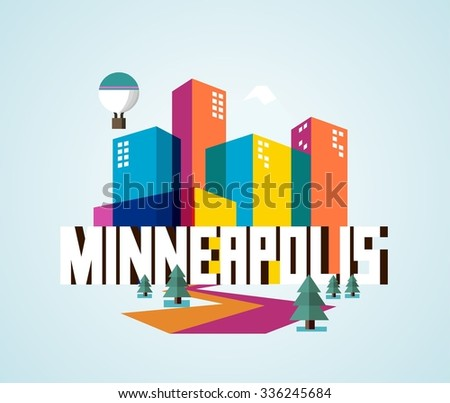 Minneapolis destination brand logo. vector cartoon - stock vector