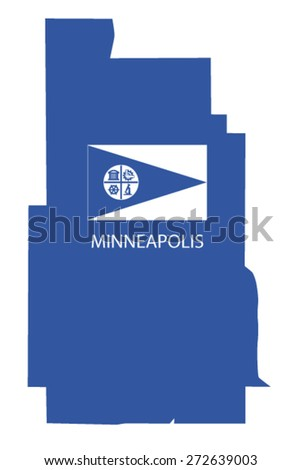 minneapolis map with flag