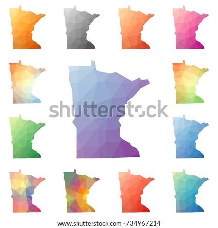 Louisiana Geometric Polygonal Mosaic Style Us Stock Vector