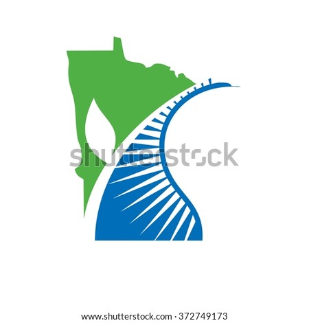 minnesota logo vector. leaf and nature symbol.
