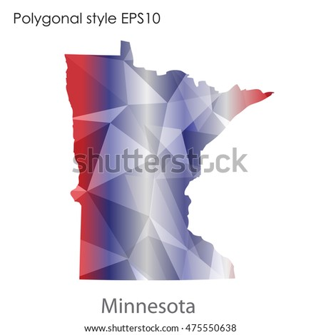 Minnesota state map in geometric polygonal,mosaic style.Abstract gems triangle,modern design background. Vector illustration EPS10