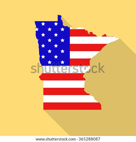Minnesota state map in style of USA national flag. Flat style with long shadow