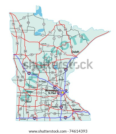 Minnesota State Road Map Interstates Us Stock Vector - Minnesota in the us map