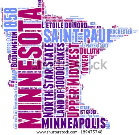 Minnesota USA state map tag cloud vector illustration - stock vector
