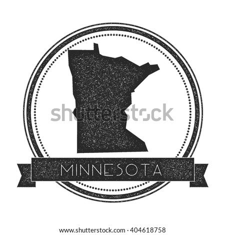 Minnesota vector map stamp. Retro distressed insignia with US state map. Hipster round rubber stamp with Minnesota state text banner, USA state map vector illustration. - stock vector