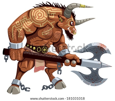 Minotaur over white background. No transparency and gradients used. - stock vector