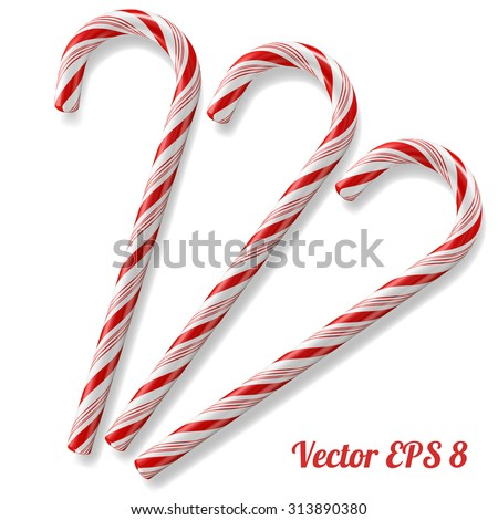 Mint hard candy cane striped in Christmas colours, vector illustration EPS 8. - stock vector
