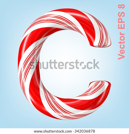 Mint hard candy cane vector alphabet collection striped in Christmas colours. Letter C. Eps 8 using mesh. - stock vector