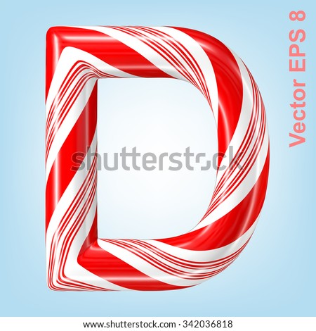 Mint hard candy cane vector alphabet collection striped in Christmas colours. Letter D. Eps 8 using mesh. - stock vector