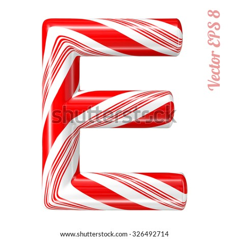 Mint hard candy cane vector alphabet collection striped in Christmas colours. Letter E. Eps 8 using mesh. - stock vector