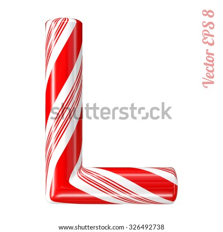 Mint hard candy cane vector alphabet collection striped in Christmas colours. Letter L. Eps 8 using mesh. - stock vector