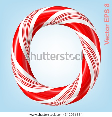 Mint hard candy cane vector alphabet collection striped in Christmas colours. Letter O. Eps 8 using mesh. - stock vector