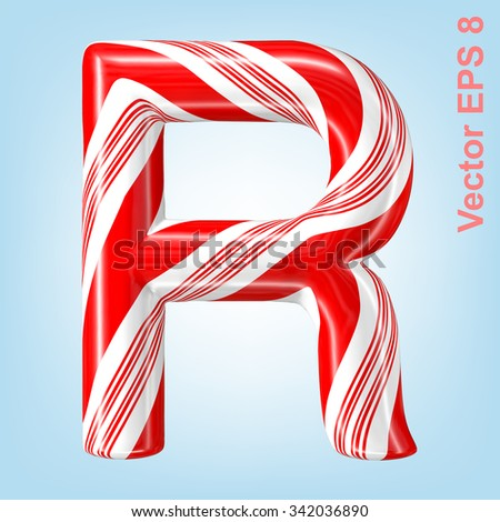 Mint hard candy cane vector alphabet collection striped in Christmas colours. Letter R. Eps 8 using mesh. - stock vector