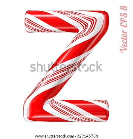 Mint hard candy cane vector alphabet collection striped in Christmas colours. Letter Z. Eps 8 using mesh. - stock vector