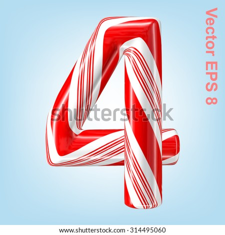 Mint hard candy cane vector number collection striped in Christmas colours. Figure 4. Eps 8 using mesh. - stock vector