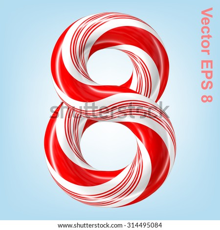 Mint hard candy cane vector number collection striped in Christmas colours. Figure 8. Eps 8 using mesh. - stock vector