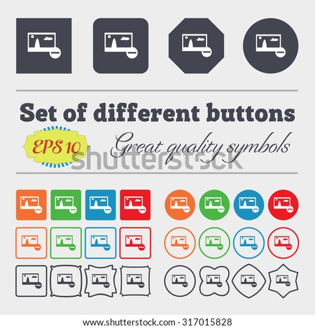 Minus File JPG sign icon. Download image file symbol. Set colourful buttons. Big set of colorful, diverse, high-quality buttons. Vector illustration - stock vector