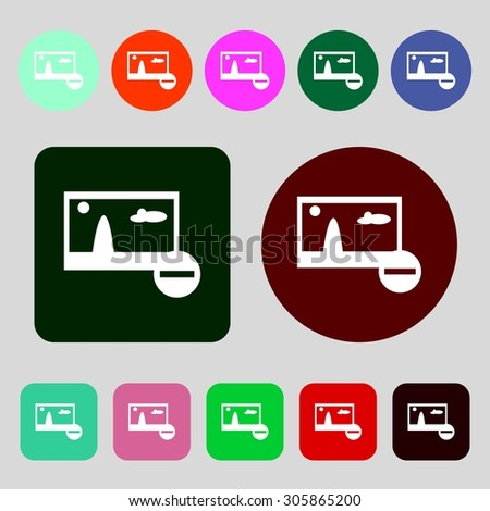 Minus File JPG sign icon. Download image file symbol. Set colourful buttons.12 colored buttons. Flat design. Vector illustration - stock vector