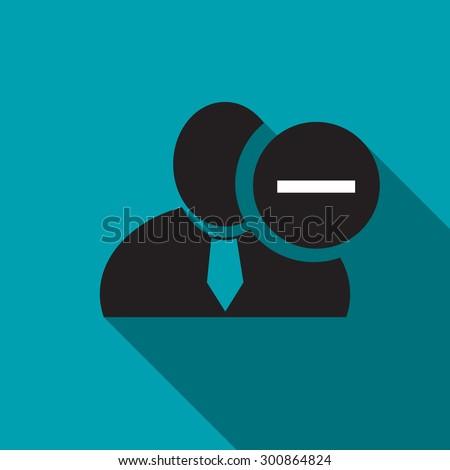 Minus sign black man silhouette icon on the blue background, long shadow flat design icon for forums or web - stock vector