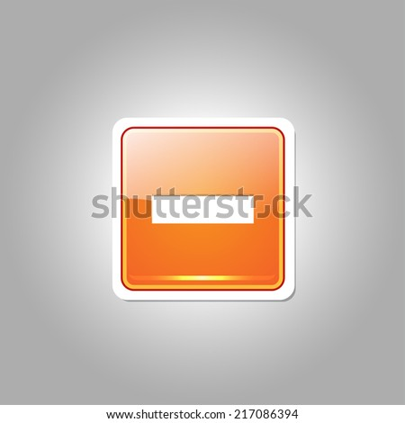 Minus Square Vector Orange Web Icon Button