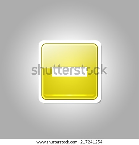 Minus Square Vector Yellow Web Icon Button