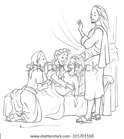 Miracles of Jesus. Raising of Jairus daughter. Colouring page. Also available colored version - stock vector