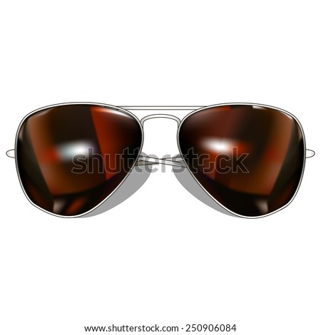 mirror brown aviator sunglasses. Isolated On White Background. Vector Illustration. - stock vector